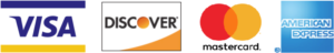 Visa, Discover, Mastercard, American Express Accepted
